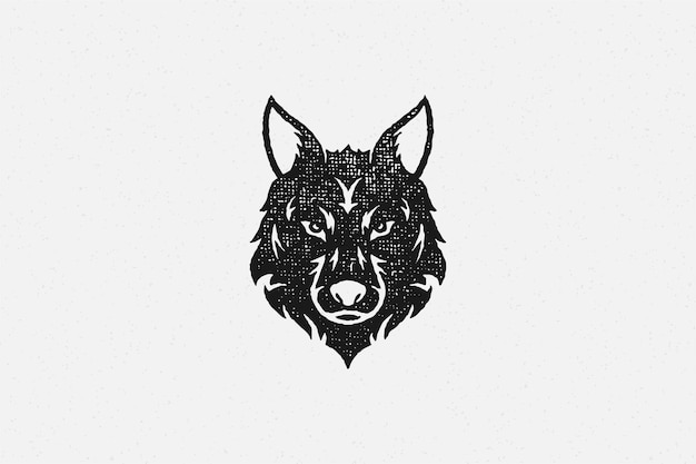 Silhouette de tête de loup sauvage comme effet de timbre dessiné main symbole faune