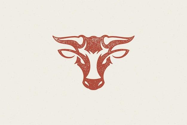 Silhouette de tête de taureau avec de grandes cornes pour l'industrie de l'élevage