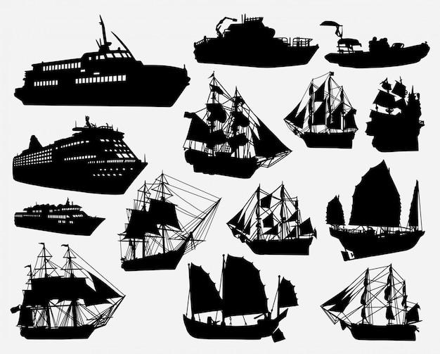 Silhouette de transport de bateau et bateau