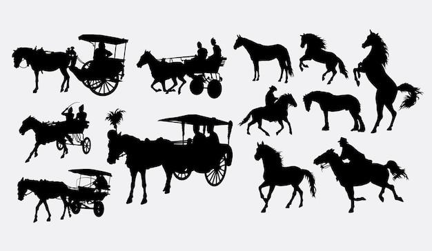 Silhouette de transport de cheval