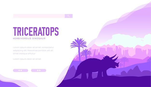 Silhouette de tricératops sur la nature avec des roches. un grand dinosaure herbivore à cornes se tient entre les deux.