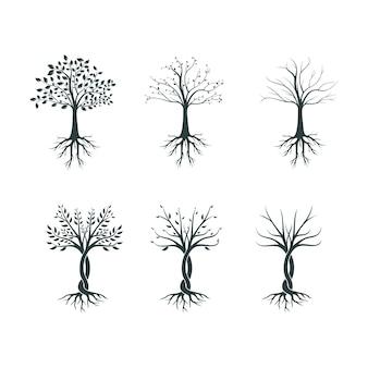 Silhouette de trois à différentes saisons