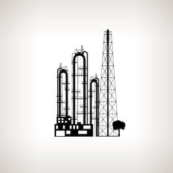 Silhouette d'une usine chimique ou d'une raffinerie de traitement des ressources naturelles, ou d'une usine de fabrication de produits sur fond clair. usine chimique pour la conception industrielle et technologique