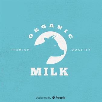 Silhouette de vache logo lait biologique
