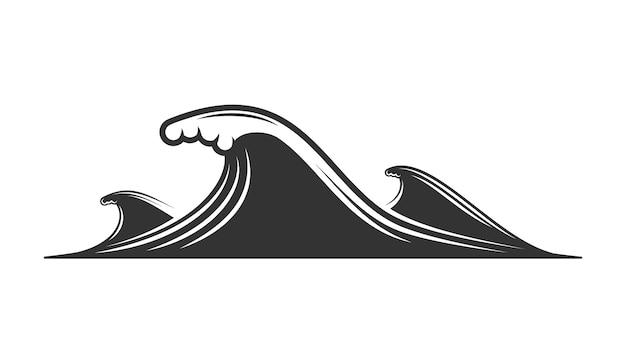 Silhouette de vague isolé sur fond blanc
