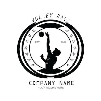 Silhouette de vecteur de conception de logo de joueur de volley-ball