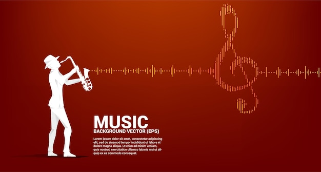 Silhouette vecteur du saxophoniste avec l'icône de note clé sol onde sonore musique equalizer fond. fond pour le concert d'événement et le festival de musique