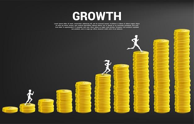 Silhouette vecteur d'homme d'affaires exécuté sur la colonne du graphique de l'argent. concept de risque, de succès et de croissance des affaires