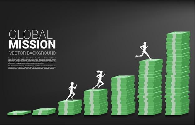 Silhouette vecteur d'homme d'affaires et femme d'affaires exécuté sur la colonne du graphique de l'argent concept de risque, de succès et de croissance des affaires