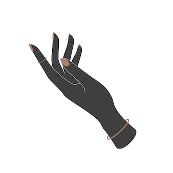 Silhouette vecteur d'icône de main de femme dans un style plat. symbole soutien, soins et aide