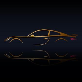 Silhouette de véhicule de sport jaune