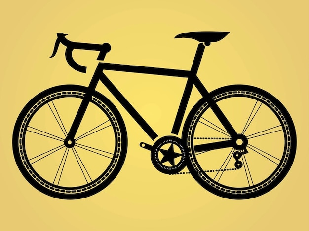 Silhouette de vélo avec une étoile décorative