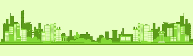 Silhouette verte eco city flat vector