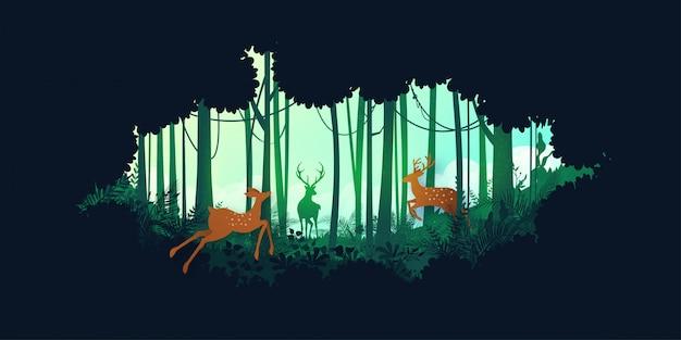 Silhouette verte jungle forêt tropicale humide et faune de cerfs