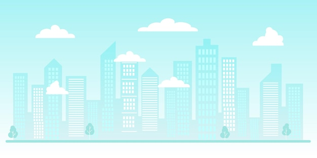 Silhouette de ville ou arrière-plan urbain une ville moderne avec des gratte-ciel et des nuages d'immeubles de grande hauteur