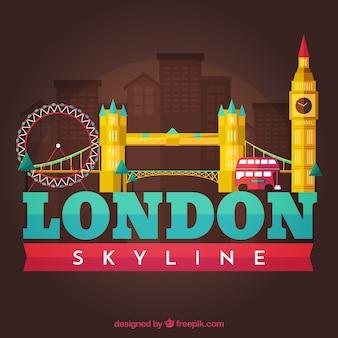 Silhouette de la ville de londres dans le style plat de skyline