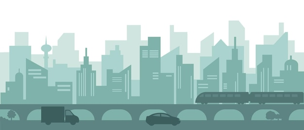 Silhouette de la ville moderne avec des gratte-ciel, des voitures et une rame de métro.