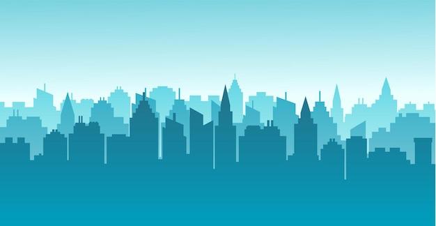 Silhouette de la ville paysage horizontal