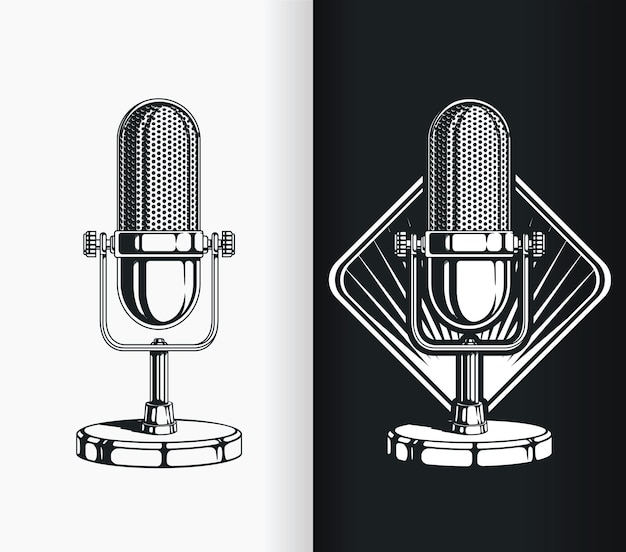 Silhouette vintage radio podcast vieux microphone