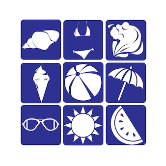 Silhouette vintage summer icon set
