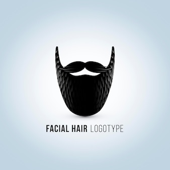 Silhouette de visage masculin isolé avec logo moustache et barbe