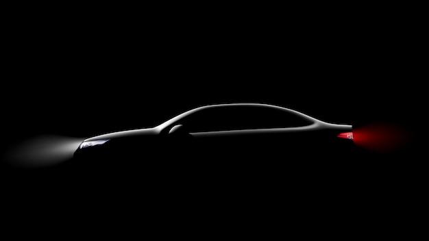 Silhouette de voiture sur fond noir