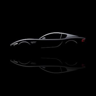 Silhouette de voiture grise avec reflet