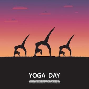 Silhouette, yoga, femme, nature