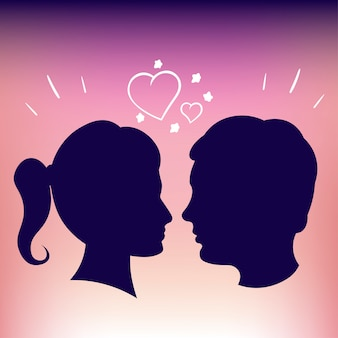 Silhouettes des amoureux. rose fon. fille et garçon