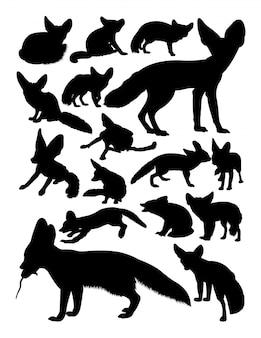 Silhouettes d'animaux de renard fennec.