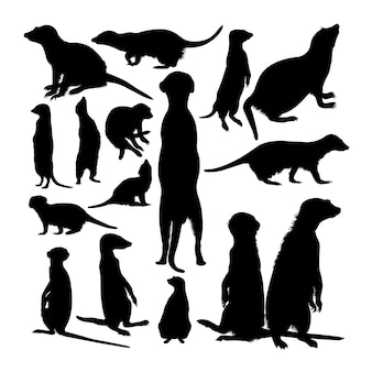 Silhouettes d'animaux suricate