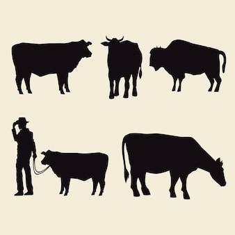 Silhouettes d'animaux de vaches et icônes de cow-boy
