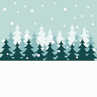 Silhouettes d'arbre de noël en hiver sur la carte de noël