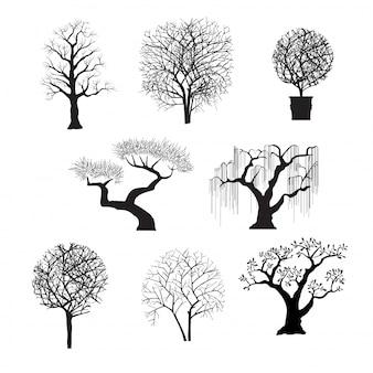 Silhouettes d'arbres pour la conception