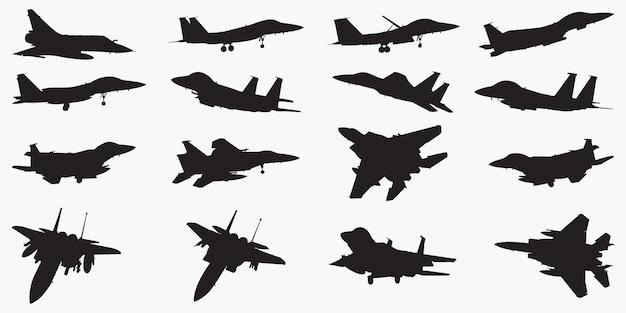 Silhouettes d'avions de chasse