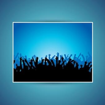 Silhouettes de beaucoup de gens qui dansent