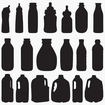 Silhouettes de bouteille de lait