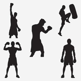 Silhouettes de boxe