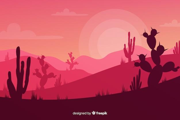 Silhouettes de cactus au coucher du soleil