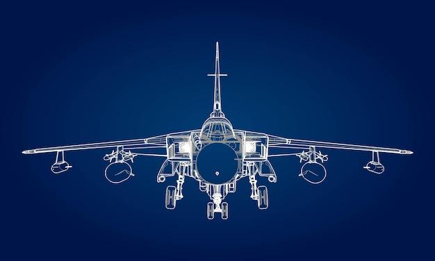 Silhouettes de chasseurs à réaction militaires. image d'avion dans les lignes de dessin de contour. la structure interne de l'avion.