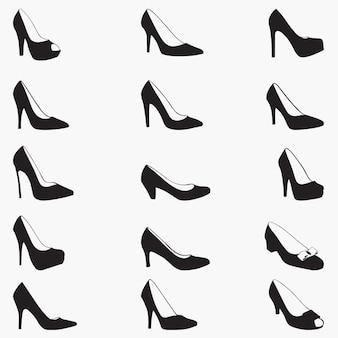 Silhouettes de chaussures féminines