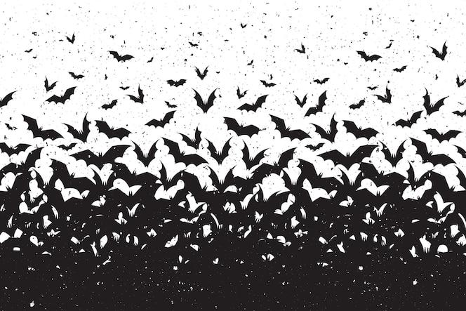 Silhouettes de chauves-souris halloween fond
