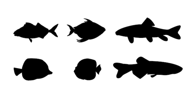 Silhouettes de collection de poissons