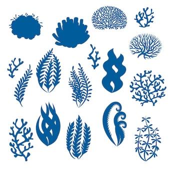 Silhouettes de coraux et d'algues plantes sous-marines éléments floraux d'aquarium de mauvaises herbes de récif de mer