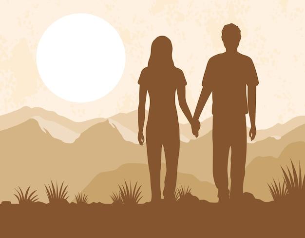Silhouettes de couple amoureux