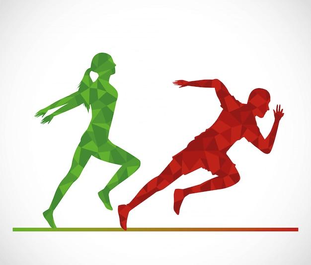 Silhouettes de couple d'athlétisme en cours d'exécution