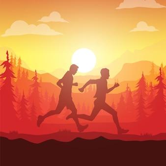 Silhouettes de coureurs de marathon.