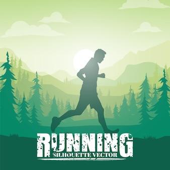 Silhouettes en cours d'exécution. trail running, coureur de marathon.