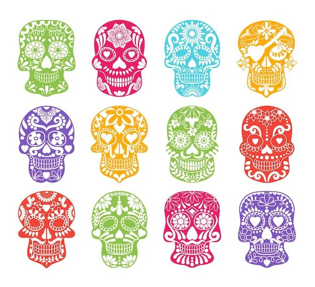 Silhouettes de crâne de sucre coloré.