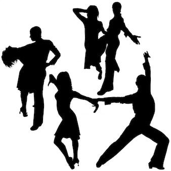 Silhouettes de danse latino
